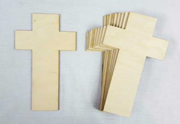 Plain Wood Wooden Cross Craft Shapes - Memorial Crucifix - Pack of 10